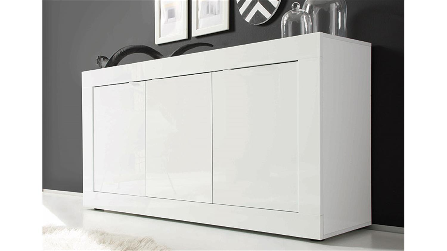sideboard basic kommode wei lackiert b 160 cm. Black Bedroom Furniture Sets. Home Design Ideas