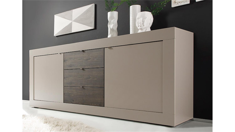kommode sideboard pavos korpus in wei matt front in sandgrau hochglanz smash. Black Bedroom Furniture Sets. Home Design Ideas