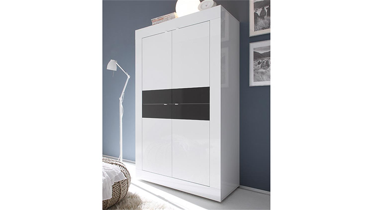 highboard basic sideboard in wei und anthrazit lackiert. Black Bedroom Furniture Sets. Home Design Ideas