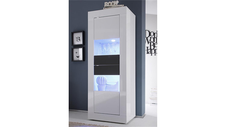 vitrine basic in wei und anthrazit lackiert schmal 2 t ren. Black Bedroom Furniture Sets. Home Design Ideas