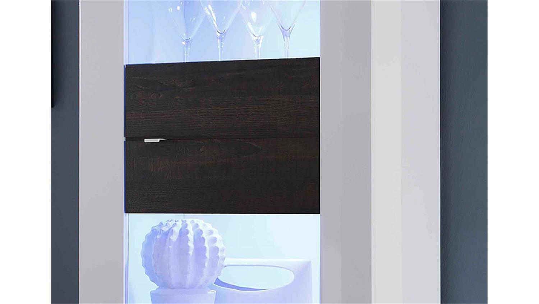 vitrine basic schmal in wei lackiert und eiche wenge. Black Bedroom Furniture Sets. Home Design Ideas