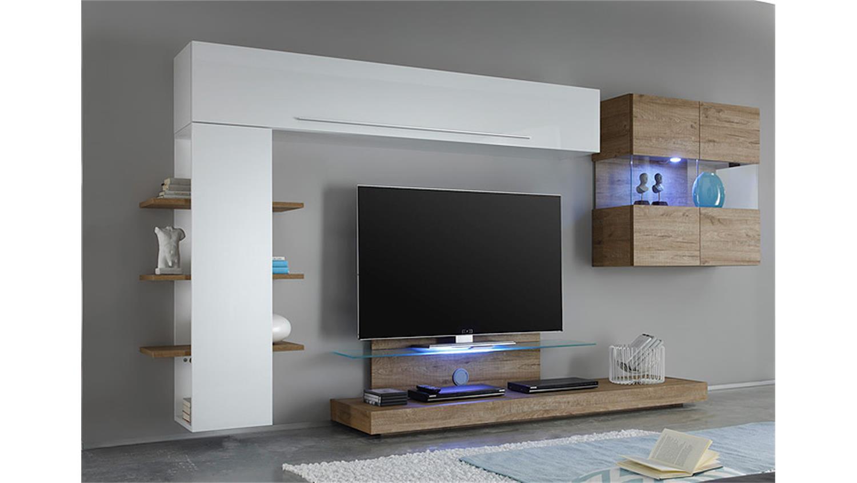 wohnwand line kombi 5 wei lack und eiche natur 320 cm. Black Bedroom Furniture Sets. Home Design Ideas