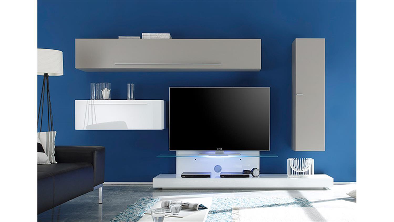 wohnwand line kombi 10 wei lack und beige matt 290 cm. Black Bedroom Furniture Sets. Home Design Ideas