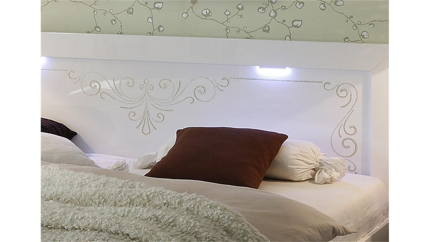 bett musa wei hochglanz mit siebdruck 180x200 cm. Black Bedroom Furniture Sets. Home Design Ideas