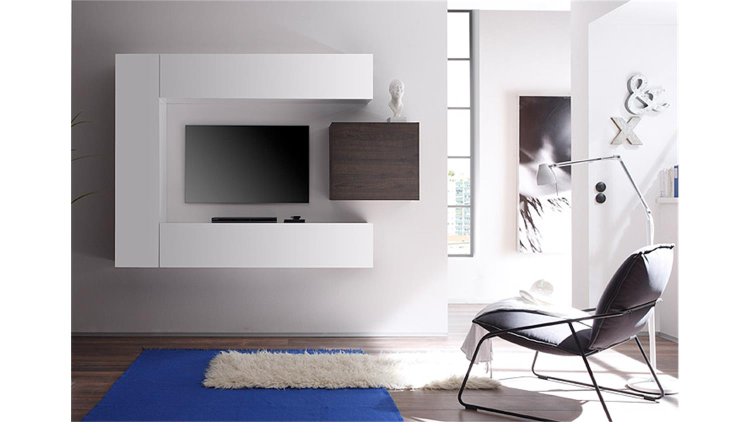 wohnwand cube kombi 1 wei lack und eiche wenge. Black Bedroom Furniture Sets. Home Design Ideas
