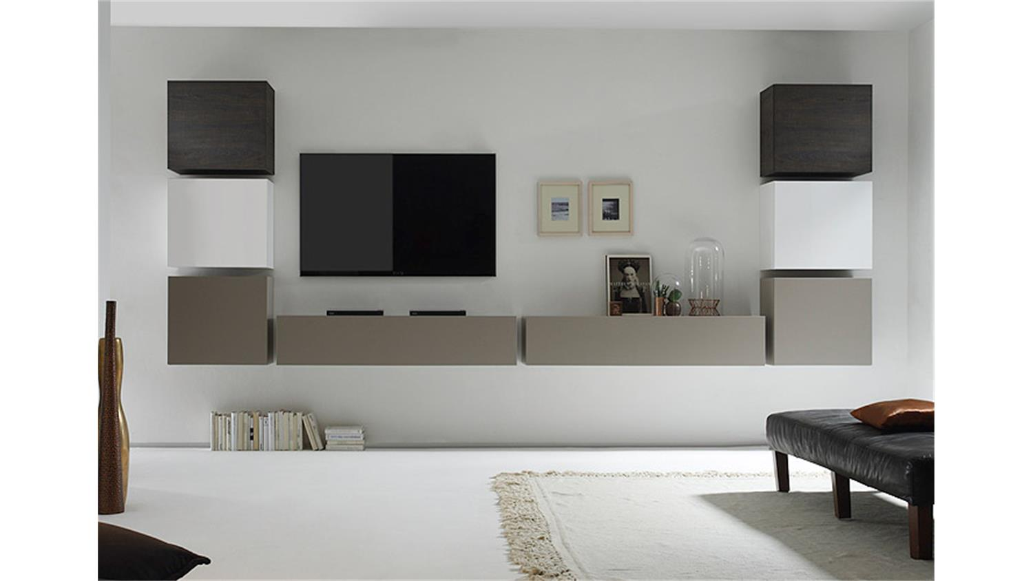 wohnwand cube kombi 8 beige matt eiche wenge wei lack. Black Bedroom Furniture Sets. Home Design Ideas