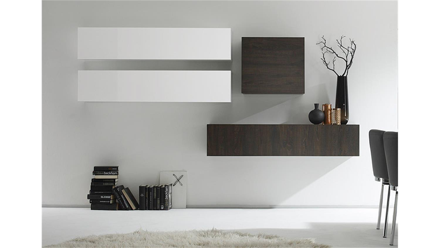 wohnwand cube kombi 10 wei lack und eiche wenge. Black Bedroom Furniture Sets. Home Design Ideas