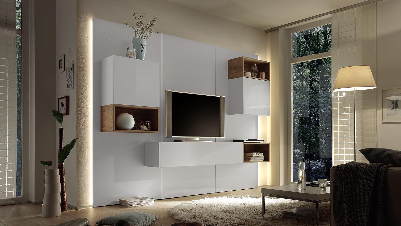 wohnwand cube 2 kombi 3 in wei hochglanz lack eiche natur. Black Bedroom Furniture Sets. Home Design Ideas