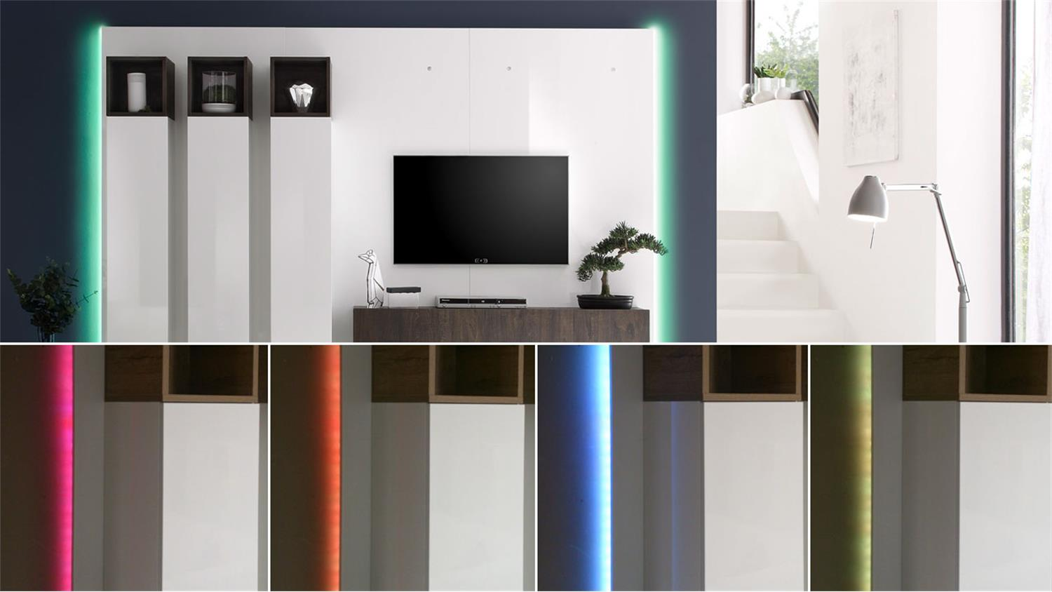 Beleuchtung F?r Wohnw?nde : Paneel Beleuchtung Wohnwand CUBE RGB LED 16 Farben