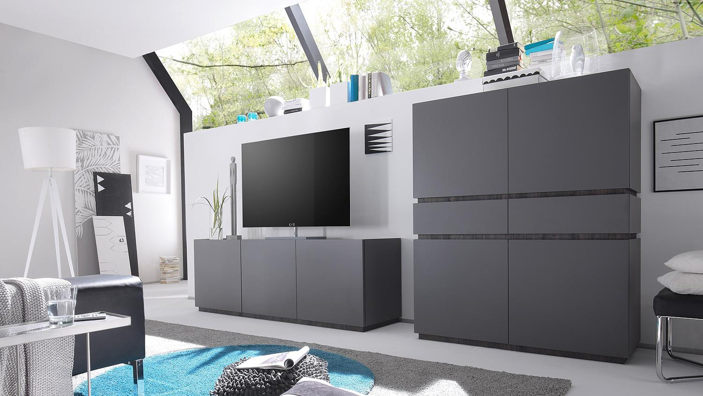 wohnkombi rex wohnwand sideboard highboard anthrazit matt lack wenge. Black Bedroom Furniture Sets. Home Design Ideas
