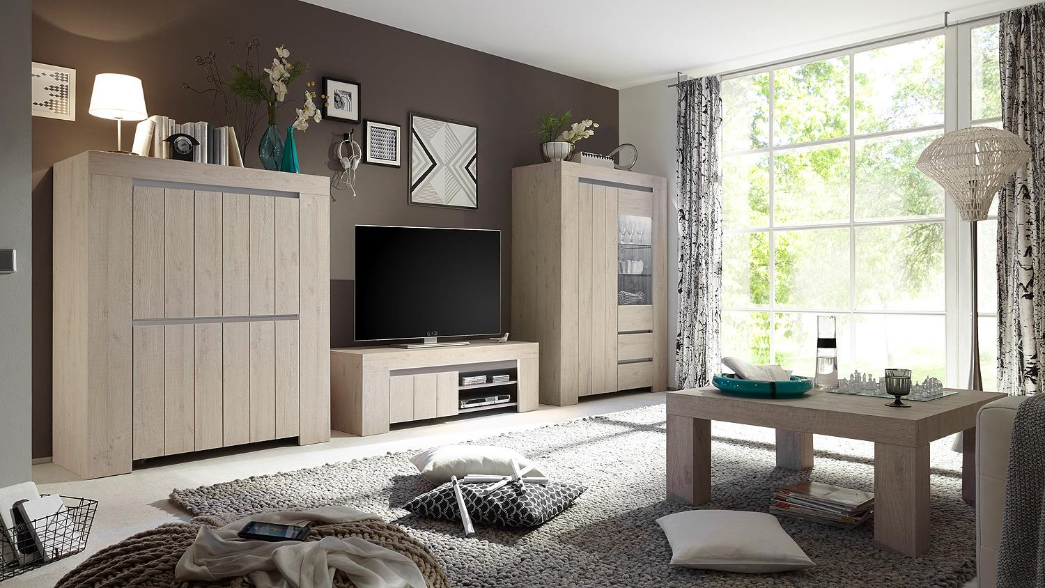 tv board palmira lowboard unterschrank eiche hell und beige matt 140. Black Bedroom Furniture Sets. Home Design Ideas