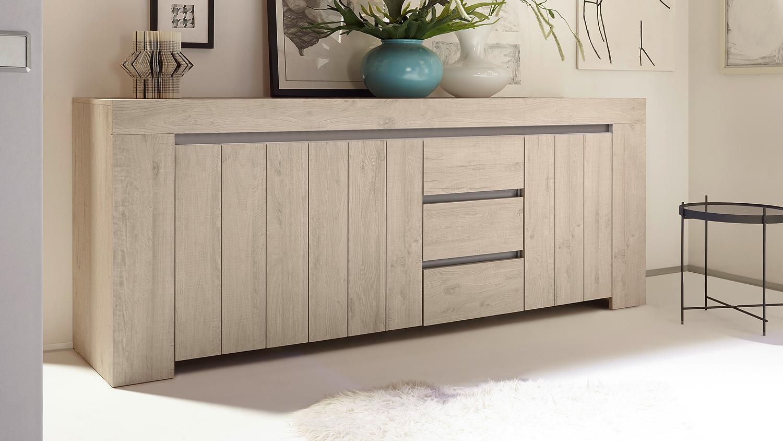 sideboard palmira kommode anrichte in eiche hell und beige. Black Bedroom Furniture Sets. Home Design Ideas