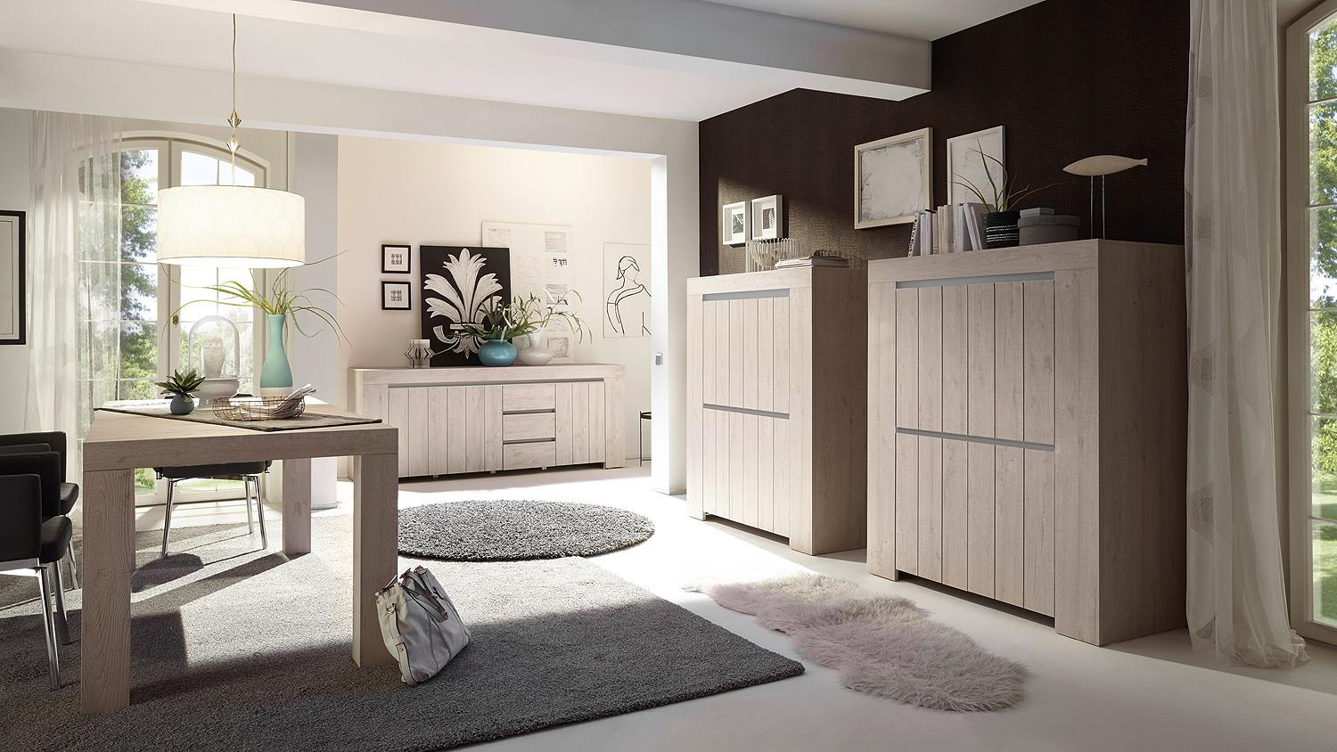 sideboard palmira kommode anrichte in eiche hell und beige matt. Black Bedroom Furniture Sets. Home Design Ideas