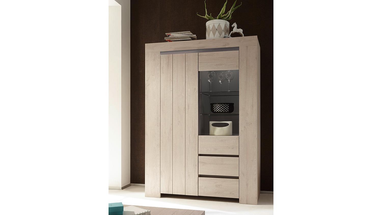 vitrine palmira highboard schrank in eiche hell und beige matt. Black Bedroom Furniture Sets. Home Design Ideas