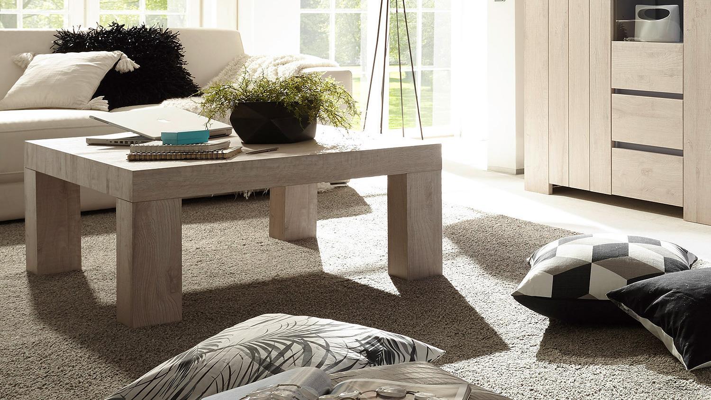 couchtisch palmira wohnzimmertisch beistelltisch in eiche hell 86x86. Black Bedroom Furniture Sets. Home Design Ideas