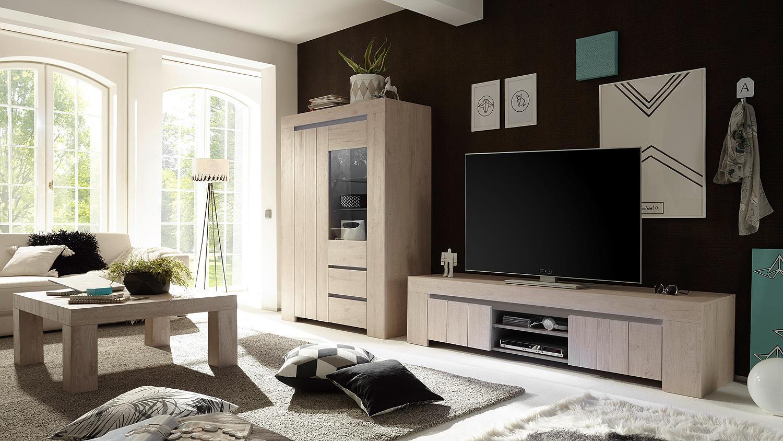 wohwand 2 palmira anbauwand wohnzimmer in eiche hell und beige matt. Black Bedroom Furniture Sets. Home Design Ideas