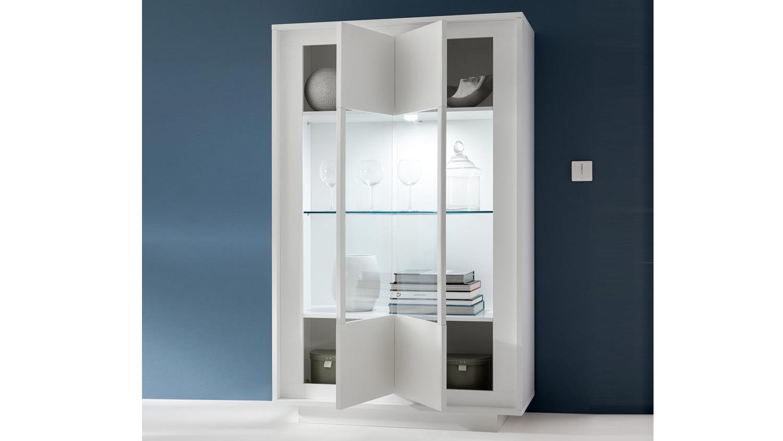 vitrine sky vitrinenschrank in wei matt inklusive softclose. Black Bedroom Furniture Sets. Home Design Ideas
