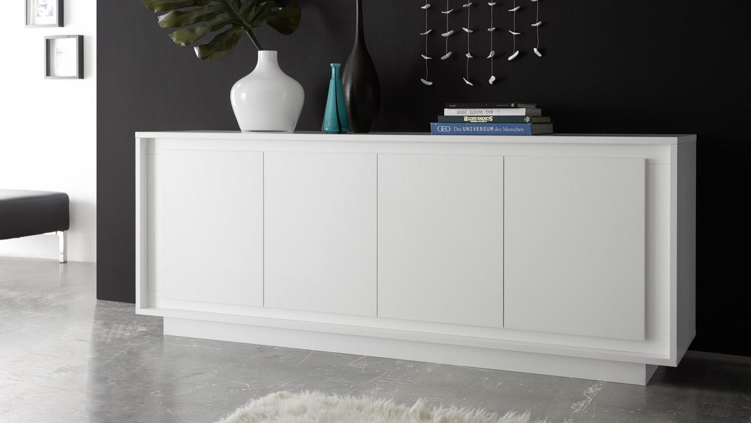 sideboard sky kommode in wei matt inklusive softclose. Black Bedroom Furniture Sets. Home Design Ideas