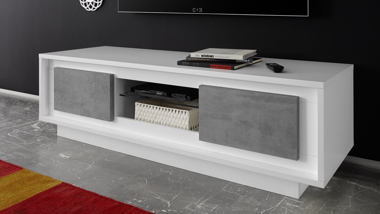 Lowboard SKY TV-Board in weiß matt und Beton mit Softclose