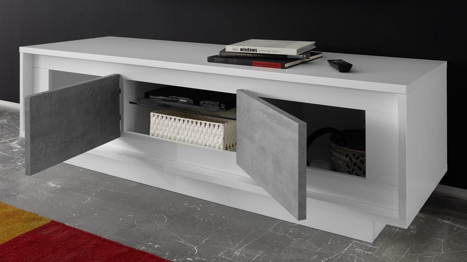lowboard sky tv board in wei matt und beton mit softclose. Black Bedroom Furniture Sets. Home Design Ideas