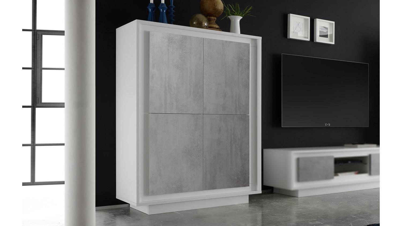 highboard sky hochschrank in wei matt und beton mit softclose. Black Bedroom Furniture Sets. Home Design Ideas