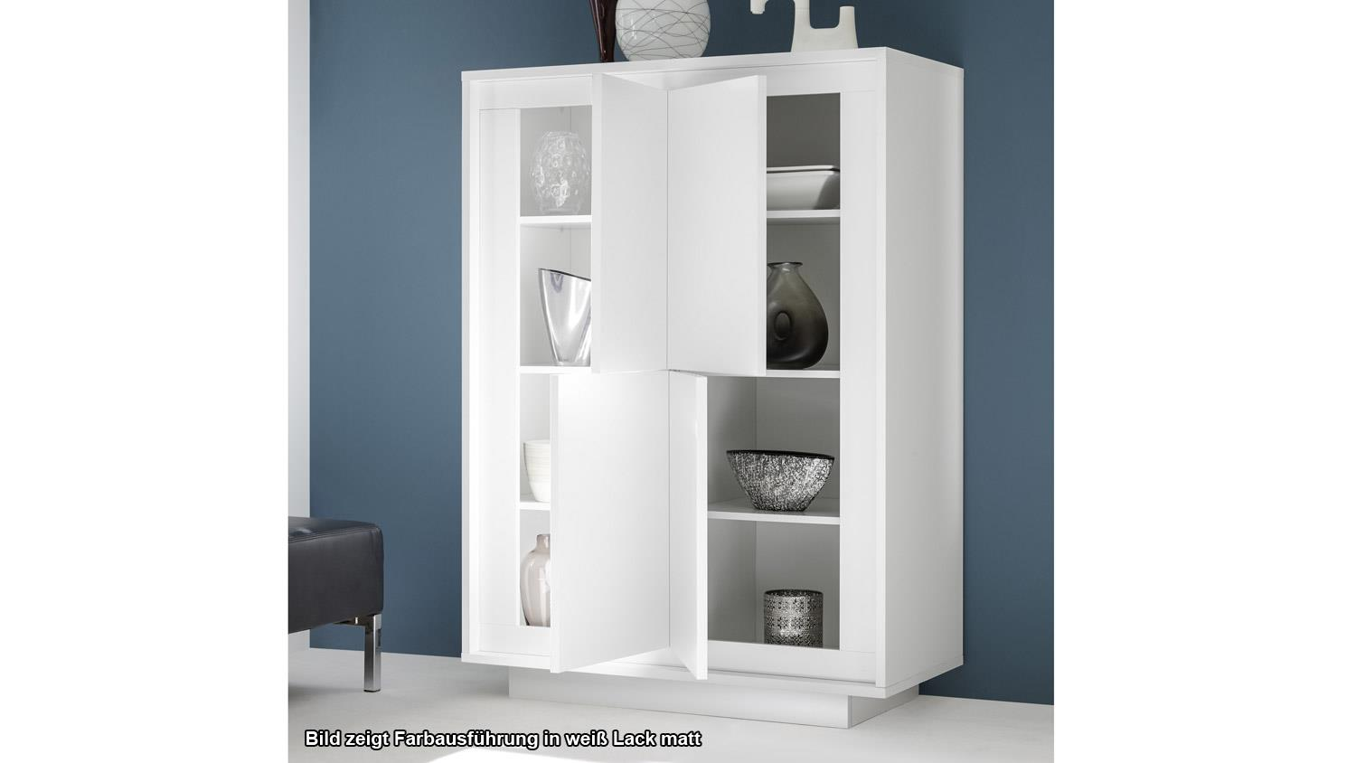 highboard sky hochschrank in wei matt und beton mit softclose. Black Bedroom Furniture Sets. Home Design Ideas