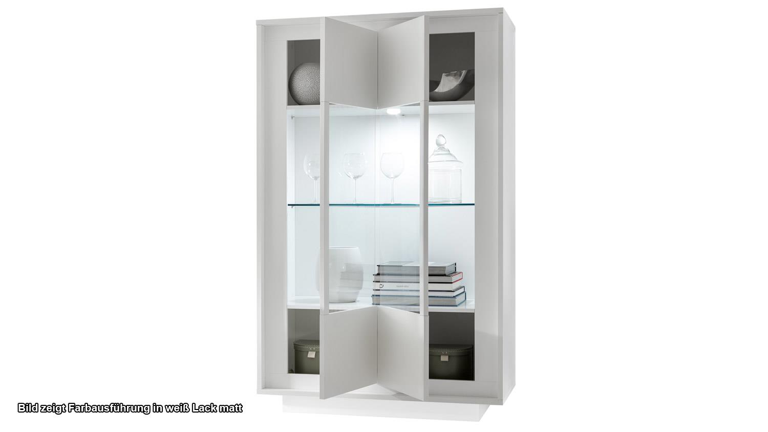 vitrine sky vitrinenschrank in wei matt und beton mit softclose. Black Bedroom Furniture Sets. Home Design Ideas