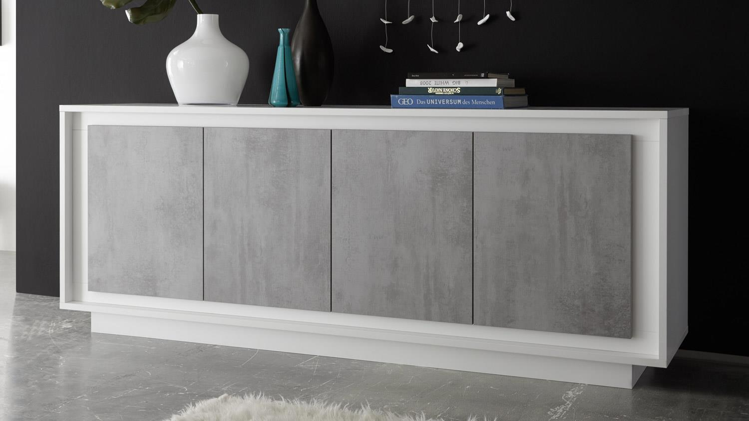 sideboard sky kommode in wei matt und beton mit softclose. Black Bedroom Furniture Sets. Home Design Ideas