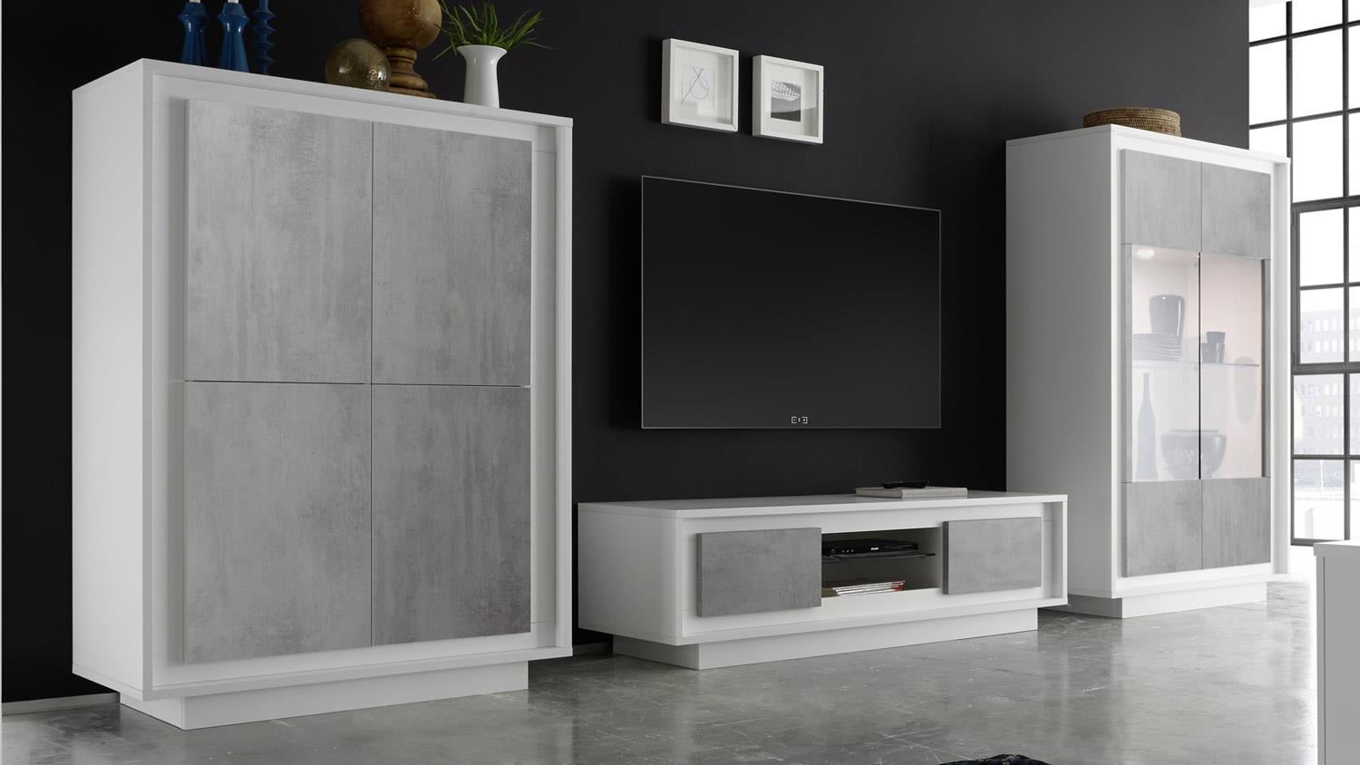 wohnwand sky anbauwand in wei matt und beton mit softclose. Black Bedroom Furniture Sets. Home Design Ideas