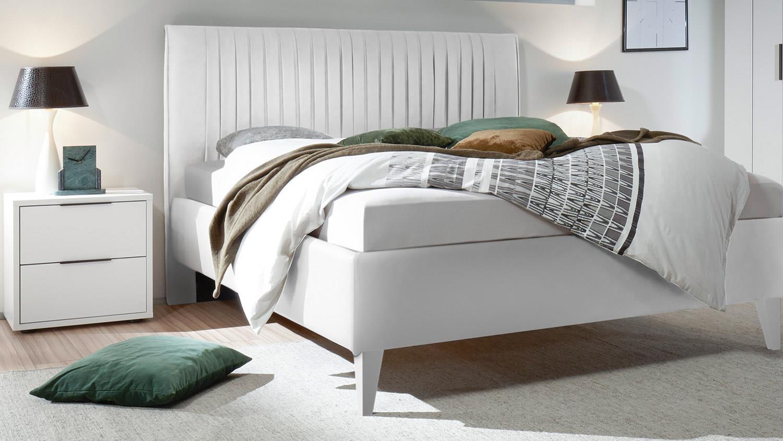 schlafzimmer venere set in wei lack matt bett in lederlook 4 tlg. Black Bedroom Furniture Sets. Home Design Ideas