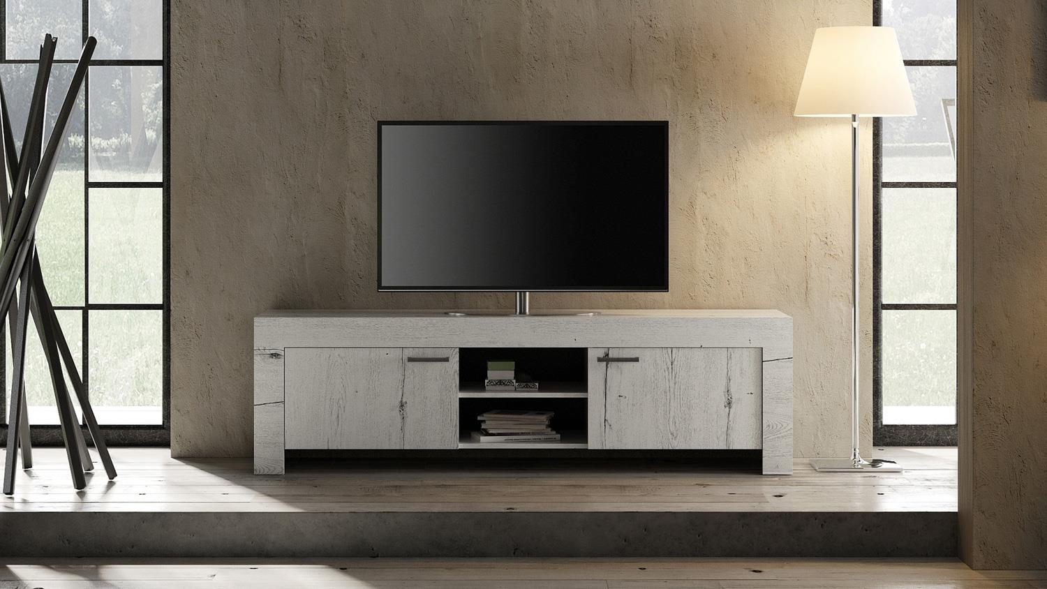 tv board land lowboard 2 t rig in wei eiche mit 2 f chern l nge 180 cm. Black Bedroom Furniture Sets. Home Design Ideas