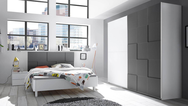 Schlafzimmer Set OTTICA weiß anthrazit lackiert 3D Optik 160