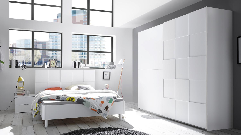 schlafzimmer set ottica wei mattlack in 3d optik 180x200. Black Bedroom Furniture Sets. Home Design Ideas