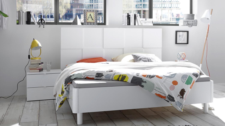 Schlafzimmer Set OTTICA weiß Mattlack in 3D Optik 180x200