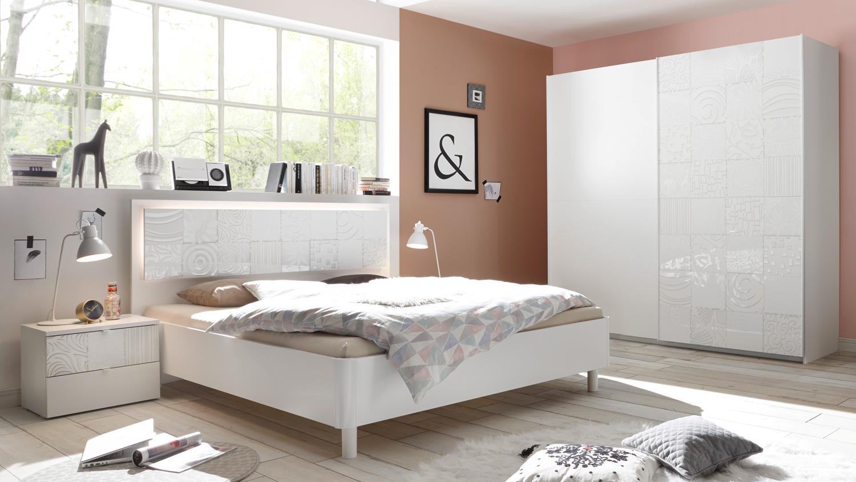 schlafzimmer set xaos 18 wei mattlack mit siebdruck 4 teilig. Black Bedroom Furniture Sets. Home Design Ideas