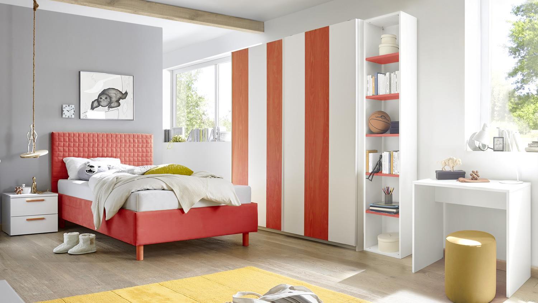 Jugendzimmer Joyz 3 Weiss Lack Und Holzoptik Rot 5 Teilig