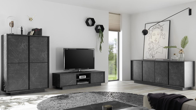 Wohnwand CARRARA Marmor anthrazit TV Board Sideboard