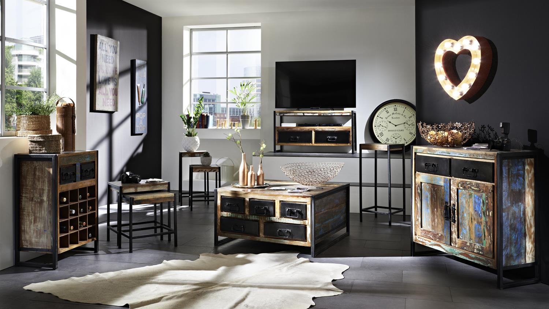 esstisch klein bali recycletes altholz altmetall factory. Black Bedroom Furniture Sets. Home Design Ideas