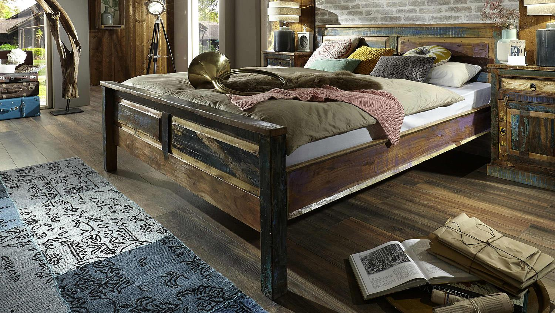 bett riverboat altholz bunt lackiert 180x200 cm. Black Bedroom Furniture Sets. Home Design Ideas