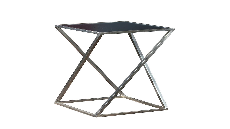 Beistelltisch art deco metall vernickelt und mdf schwarz for Beistelltisch metall