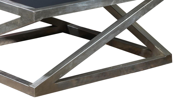 Couchtisch ART DECO Metall vernickelt und MDF schwarz