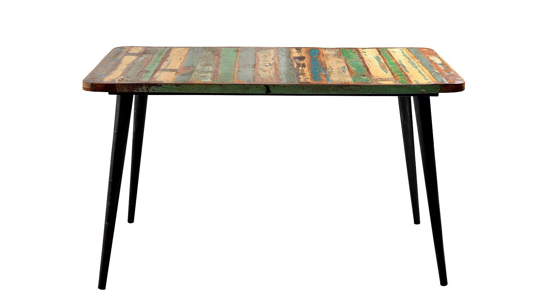 Tisch miami altholz bunt lackiert mit metallbeinen 140x70 for Esstisch holz mit metallbeinen
