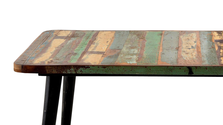 tisch miami altholz bunt lackiert mit metallbeinen 140x70. Black Bedroom Furniture Sets. Home Design Ideas