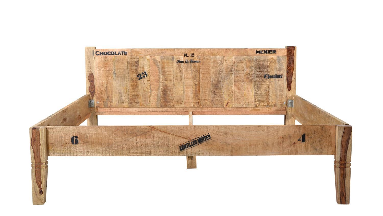 bett rustic mango massivholz lackiert natur 180x200 cm. Black Bedroom Furniture Sets. Home Design Ideas