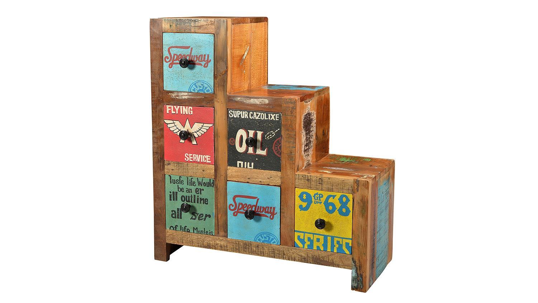 kommode 8 speedway recyceltes altholz bunt lackiert. Black Bedroom Furniture Sets. Home Design Ideas