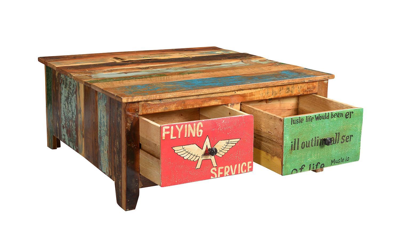 couchtisch speedway recyceltes altholz bunt lackiert. Black Bedroom Furniture Sets. Home Design Ideas