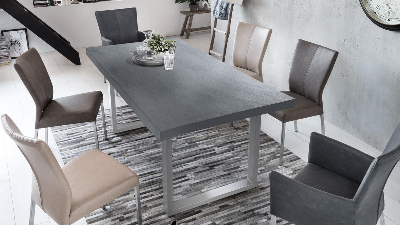 esstisch cement beton kufengestell silber 160x85 cm. Black Bedroom Furniture Sets. Home Design Ideas