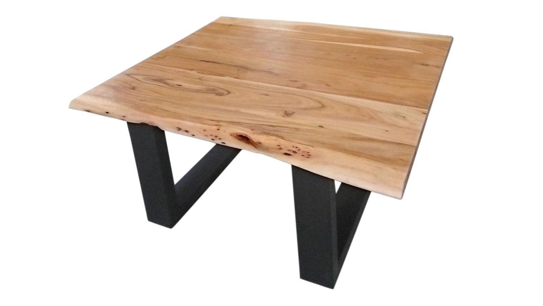 Couchtisch Tops Tables Akazie Massiv Mit Baumkante 80x80