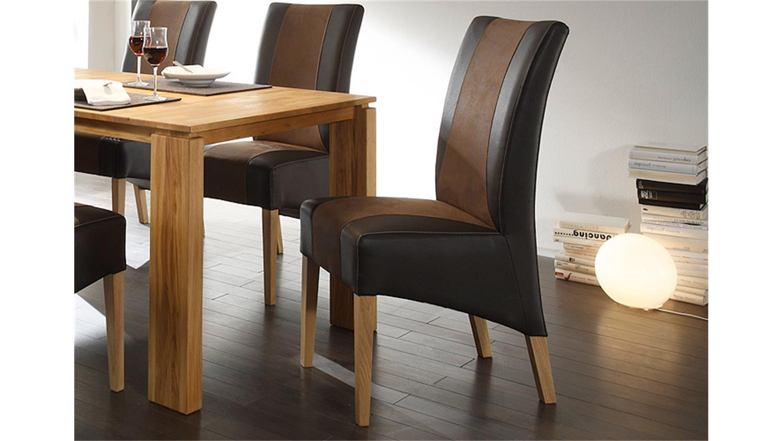 Stuhl julian dunkelbraun braun und eiche natur for Stuhl eiche