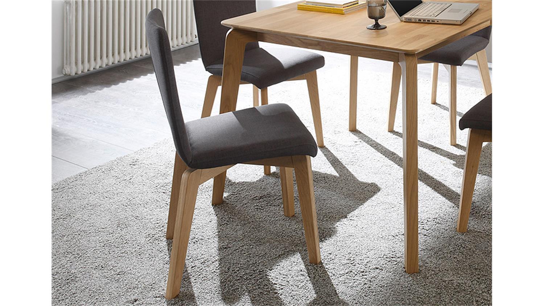 stuhl manon bezug anthrazit gestell eiche natur massiv. Black Bedroom Furniture Sets. Home Design Ideas